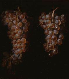 """trompe-l'oeil Still Life ,La uva era un símbolo de Baco y además Juan Fernández : recordaba la descripción de Plinio sobre el célebre pintor griego Zeuxis, que pintó unas uvas tan realistas que los pájaros iban a picotearlas """"zeuxis apelles"""""""