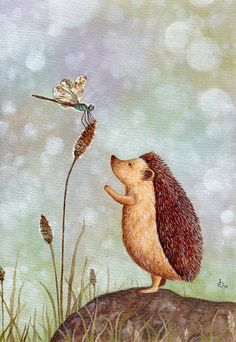Hedgehog and Dragonfly, print from an original watercolor illustration by Irene Owens Hedgehog Illustration, Children's Book Illustration, Watercolor Illustration, Beatrix Potter, Hedgehog Pet, Hedgehog Tattoo, Dragonfly Art, Watercolor Animals, Forest Animals