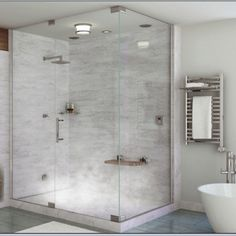 First floor bathroom with shower and steam stall instead of separate sauna.make it to bathroom Steam Room Shower, Steam Showers Bathroom, Bathroom Spa, Bathroom Ideas, Relaxing Bathroom, Bathroom Plans, Bath Ideas, Bathroom Designs, Bathroom Fixtures