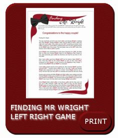 finding mr.wright left/right game | Left Right Shower Game - Left Right Games for Bride, Baby, Etc