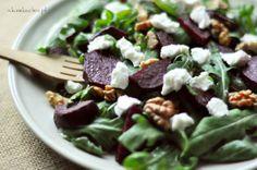 Sałatka z burakami, rukolą i kozim serem Beetroot, Goat Cheese, Salads, Beef, Vegetables, Healthy, Recipes, Drink, Food