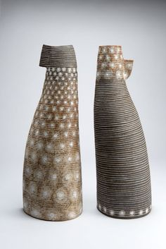 Petra Bittl Ceramics, Pair of Vessels, stoneware Clays, porcelain, salt Not super crazy about these forms but the finish is amazing! Ceramic Pots, Stoneware Mugs, Ceramic Clay, Ceramic Pottery, Pottery Art, Slab Pottery, Thrown Pottery, Earthenware, Pottery Sculpture
