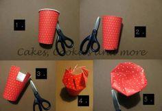 Anleitung für Verpackung aus einem Pappbecher ©Himbeeri