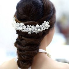 Durable Edition White Crystal Pearl Headdress Wedding Dress Accessories Bride Bridal Wedding Jewelry For Tiara Noiva casamento-in Hair Jewelry from Jewelry on Aliexpress.com   Alibaba Group
