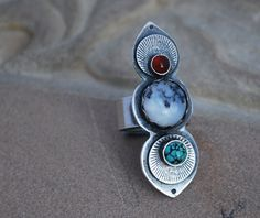 Sterling Silver sunburst ring with turquoise, dendritic agate and carnelian - silver stone set sun ring, jewel ring