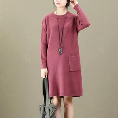 Round Neck Long Sleeves Autumn Winter Women Dress