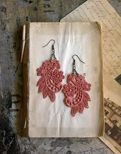 #coral #lace #earrings $22.00 @whiteowl