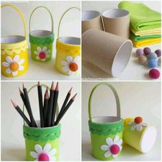 Возьми Flower Baskets, Easter Baskets, Toilet Roll Craft, Toilet Paper Roll Crafts, Cardboard Tube Crafts, Projects For Kids, Diy For Kids, Crafts For Kids, Easter Art