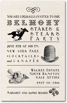 Belmont Stakes Party Invitations, Tips and Recipes from TheInvitationShop.com