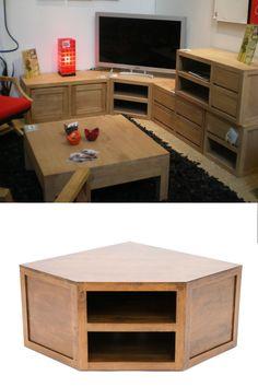 meuble d'angle TV en plusieurs parties Corner Tv Stands, Ikea, Tv Decor, Home Decor, Tv Unit Design, Diy Pallet Furniture, Downstairs Bathroom, New Living Room, Tvs