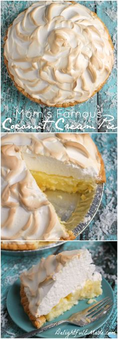 Mom's Famous Coconut Cream Pie This classic cream pie is made even more amazing with a gorgeous meringue and perfectly creamy coconut custard filling. One of the best pie's you'll ever have! Best Coconut Cream Pie, Coconut Custard Pie, Custard Filling, Coconut Pie With Meringue, Custard Pudding, Pudding Recipe, Coconut Sugar, Cream Pie Recipes, Tart Recipes
