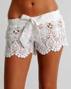 """""""As seen in the June 2011 issues of Elle and Cosmo, and on Kate Hudson in the movie """"Something Borrowed""""! Our signature crochet hot short in white, embroidered tie and elasticized waist band. Runs slim."""" I really love these pretty shorts! Shorts Tejidos A Crochet, Crochet Lace, Crochet Lingerie, Crochet Summer, Beach Crochet, Crochet Pants, Lacy Lingerie, Lingerie Shoot, Crochet Style"""