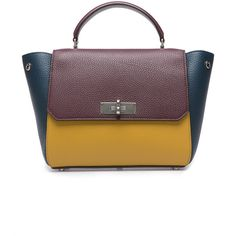 Bally B Turn Small Color Block Bag (24.061.985 IDR) ❤ liked on Polyvore featuring bags, handbags, shoulder bags, colorblock handbags, top handle handbags, top handle bag, yellow handbag and yellow purse
