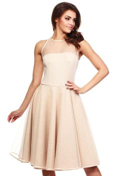 Beige Cheeky Mesh Skater Party Dress #Dresses https://queens-market-clothes.myshopify.com/