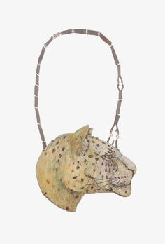 Galerie tal20 - Soulful and Colorful Tabea Reulecke and Danni Schwaag show their jewelry in Munich - - --- Tabea Reulecke, necklace <em>Leopard</em>, 2014. Oxidized silver, 750 gold, enamel on copper. 35 × 14 × 1 cm.