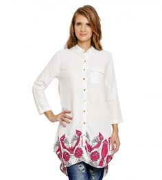 Jalebe trendy white tunic with bird print for women INDTJBL022