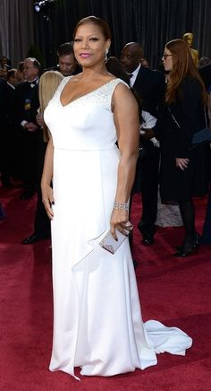 Queen Latifah Plus Size Wedding Dresses With Sleeves, Dresses For Apple Shape, Plus Size Gowns, Plus Dresses, Nice Dresses, White Gowns, White Dress, Oscar Fashion, Queen Latifah
