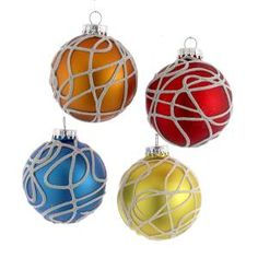 65MM GLASS SWIRL DESIGN GLASS BALL ORNAMENT 4PC