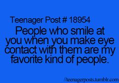 It's like an agreement. If we meet eyes, smile and make make it less awkward.