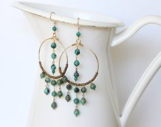 Boho Chic Chandelier Earrings Turquoise Antique Brass and