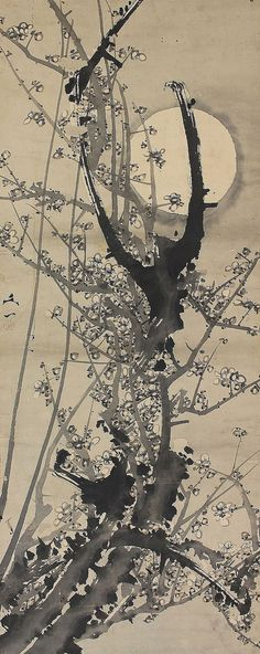White plum blossoms under the moon. Painted on paper with ink. The trees flowering in late winter and early spring is highly regarded as a