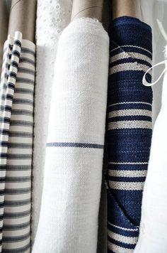 blue and white textiles Textile Fabrics, Fabulous Fabrics, Linen Fabric, Cushion Fabric, Blue Fabric, Shibori, Slipcovers, Shades Of Blue, Lana