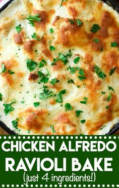 casserole recipes Chicken Alfredo Ravioli Bake is a cheesy crowd-pleasing dinner that has only 4 ingredients! Takes just minutes to get on the table! Chicken Ravioli, Ravioli Bake, Baked Ravioli Casserole, Cheese Ravioli Recipe Easy, Crockpot Ravioli, Chicken Alfredo Lasagna, Spinach Ravioli, Cheesy Chicken, Healthy Casserole Recipes