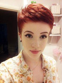 red hair pixie cut short