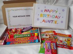 Retro Sweets Gift Box  Auntie  Birthday FREE personalised message(45 sweets)  | eBay