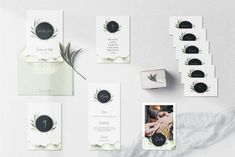 """Hochzeitspapeterie Set mit Einladung, Menü, Tischnummer, Namenskärtchen """"Olive"""" Photo Wall, Frame, Design, Home Decor, Invitations, Cards, Picture Frame, Photograph, Decoration Home"""