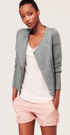 Petite Merino Wool Blend Moto Jacket
