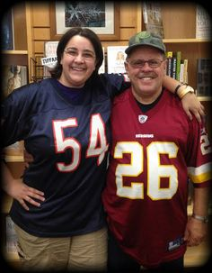 A Patron came in with all smiles for the Football Jersey contest (Miss K's dad)