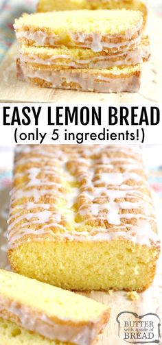 Easy Lemon Bread is moist, full of lemon flavor and made with only five ingredients! This lemon bread recipe is easy to make and is soft and delicious! lemon recipe bread lemonbread easybread yummy BUTTER WITH A SIDE OF BREAD 164029611415685354 Best Bread Recipe, Quick Bread Recipes, Cooking Recipes, Lemon Cake Roll Recipe, Healthy Lemon Cake Recipe, Lemon Bread Pudding Recipe, Soft Food Recipes, Healthy Lemon Desserts, Easy Delicious Desserts