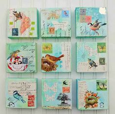 Birds & Butterflies 9 Original Mixed Media Paintings Nursery Art Cottage Decor Turquoise Light Blue from etsy Nursery Paintings, Nursery Art, Mini Paintings, Mixed Media Canvas, Mixed Media Collage, Art Altéré, Collages, Art Du Collage, Mail Art