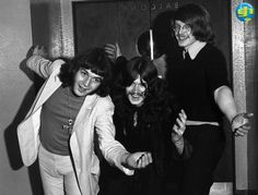 Glenn Hughes (Trapeze), Andy Archer (Radio Caroline DJ) and Woolly Wolstenhome at the Wolverhampton Civic Hall, 9th December, 1969 during the time Glenn had recently joined Trapeze.