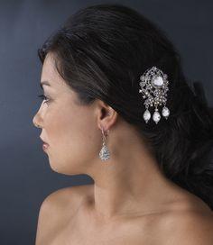 Vintage Inspired AB Crystal Brooch Wedding Hair Comb