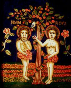 Elena Beniceru: Adam and Eve, reverse glass painting Adam Et Eve, Sacred Art, Religious Art, Close Image, Pilgrim, Art School, Folk Art, Modern Art, Ikon