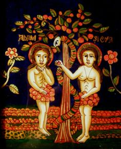 Elena Beniceru Adam & Eve Reverse glass painting 19 x 15.5 cm.