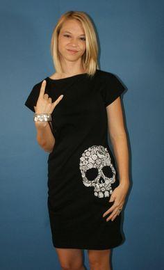 Custom screened floral skull tshirt dress