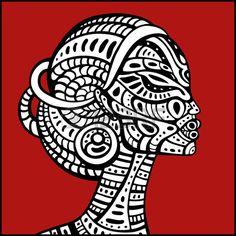 Profil de la belle femme africaine. Hand drawn illustration ethnique.