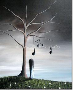 8x10 art print ERBACK FINE ART Little Girl Under Tree Music Notes fantasy surreal pretty sky. $20.00, via Etsy.