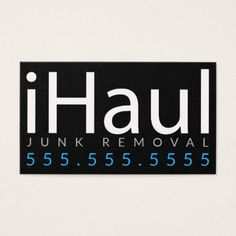 Junk Hauling Removal Business Card created by Make_Money. Junk Hauling, Junk Removal, Office Gifts, Smudging, Paper Texture, Business Cards, Things To Come, Writing, Prints
