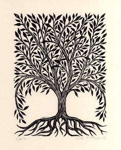 Hand-printed linoleum block art print  This lovely tree is hand carved from lino-block and hand pressed  Great house warming, wedding or valentine gift! Signed and dated by artist Neil Stavely  Printed in black water-based ink on cream colored card-stock paper  ▶︎ Measures 6 x 8