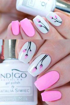 Creative Nail Art Ideas – Soft Flowers with Arte Brillante Gel by Indigo Nails -… - Diy Nail Designs Nail Designs Hot Pink, Gel Nail Designs, Nails Design, Design Design, Design Ideas, Diy Nails, Cute Nails, Pretty Nails, Hot Pink Nails