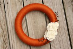 DIY Pumpkin Spice yarn wreath