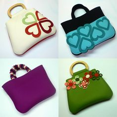 Very nice to try. Unique Purses, Cute Purses, Purses And Bags, Felt Purse, Craft Bags, Clothes Crafts, Fabric Bags, Kids Bags, Handmade Bags