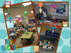 Owl themed classroom inspiration. I like the desk grouping using colored tape