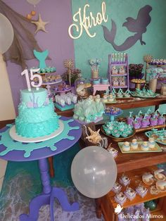 Decoração Tema Sereia Mermaid Party Favors, Mermaid Party Decorations, Mermaid Theme Birthday, Little Mermaid Birthday, Little Mermaid Parties, Birthday Party Decorations, Party Themes, 9th Birthday Parties, Birthday Diy