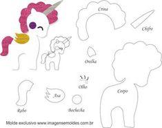 Molde de Unicórnio 12 para Feltro – EVA e Artesanato, Molde de Unicórnio 12 para EVA - Feltro e Artesanato, Molde de Unicórnio