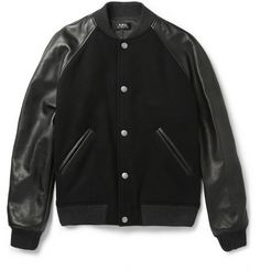 A.P.C.Leather-Sleeved Wool-Blend Bomber Jacket